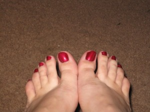 This pedicure picture brought to you by OPI and Zoya