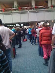 Lines for security at airport