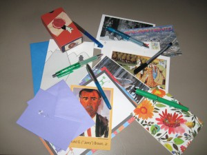 stationery, postcards, pens, mail, letters, letter writing