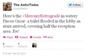 Twitter, tweet, Mercury retrograde, Mercury, retrograde, Pisces, Oscars, Academy Awards