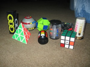 Rubik's Cube, Rubik's Missing Link, Rubik's Magic Snake, Pyraminx, Ivory Tower, Whip It, puzzles, 3-D puzzles, games