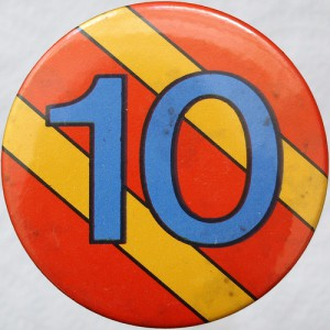 10, ten, 10th anniversary, 10 button