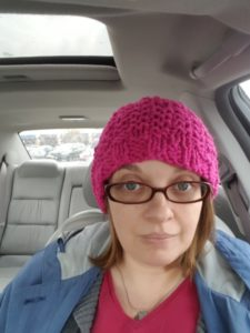 Car selfie time (the vehicle was stationary). Wearing the beanie my cousin knitted for me - I love the color. Today was a 6 out of 10.