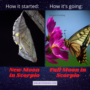 new moon in scorpio, full moon in scorpio, scorpio moon, how it started how it's going scorpio, astrology, girl with moxie